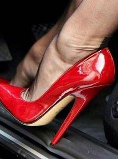 The pleasure of high Heels: Red pumps black pantyhose Extreme High Heels, Black High Heels, High Heels Stilettos, High Heel Boots, Stiletto Heels, Stockings Heels, Nylons Heels, Black Pantyhose, Sexy Legs And Heels
