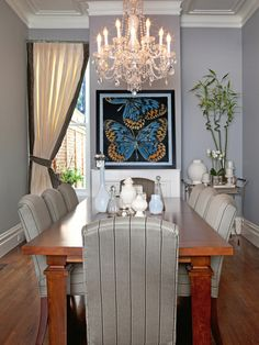 Transitional Gray Dining Room With Butterfly Art | HGTV