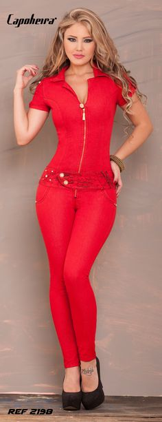 Love red gem Jumpsuit Bling Original Capoheira Jeans 2015