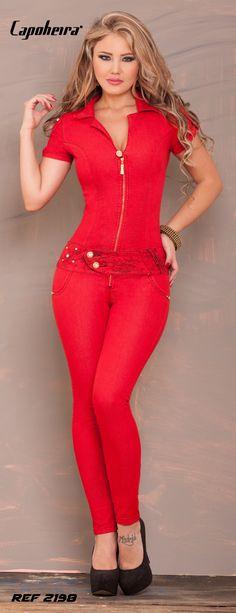 Love red  gem Jumpsuit Bling Original Capoheira Jeans  2015