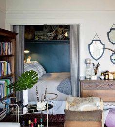 Sarah's Curio Filled Studio - bed in closet nook Alcove Bed, Bed Nook, Bedroom Nook, Bedroom Ideas, Small Bedroom Inspiration, Murphy-bett Ikea, Studio Bed, Sleeping Nook, Hidden Bed