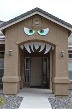 Halloween monster house! You could decorate the door to make it look like the monster has something in it's mouth. :)