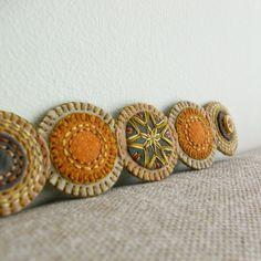Old Gold Penny Wool Felt Cuff Bracelet by LoftFullOfGoodies...felty inspiration !