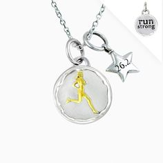"Gone For a Run Livia Collection Sterling Silver & 14K Gold Vermeil Run Strong Token 26.2 Necklace. Sterling silver token charm. 1/2"" round and 3mm thick. 14k gold vermeil accents. Choose from a variety of necklace types - Gift boxed. Official Gone For a Run Brand Product - Passionate about sports and the products we make."