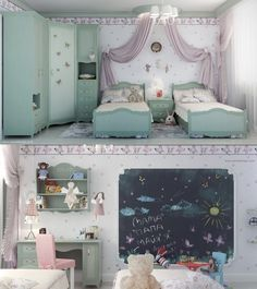 Kids Bedroom, Creative Wall Decorations Dieas Of Ikea Little Girl Bedroom Designs With Chic Desk And Chair With Shelves And Double Beds With Swing Curtains And Cute Wallpaper And Rug: Cute Little Girl Bedroom Designs Ideas Pictures Twin Girl Bedrooms, Little Girl Rooms, Girls Bedroom, Bedroom Decor, Bedroom Ideas, Dream Bedroom, Bedroom Wall, Nursery Ideas, Nursery Decor