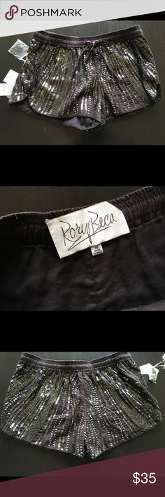 """NWT Rory beca Orissa sequin original price 180.00 New with tag Rory beca Orissa sequin short  Size: xs Color: dark brown  Made in India  100%cotton  2"""" inseam  All-over sequin detail  Drawstring waist Dry cleaning only Original price 180.00 Rory Beca Shorts Skorts"""