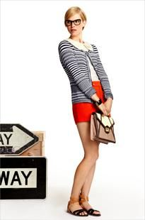 Striped Cardigan and Red Shorts