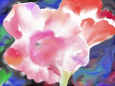 The morning glory flowers digital watercolour
