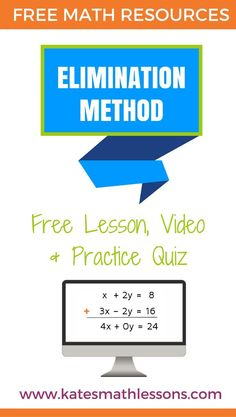 Free Algebra lesson: Solving systems of equations with the elimination method. Free lesson, video, and practice quiz with instant feedback. Algebra Lessons, Algebra Worksheets, Algebra Activities, Algebra 1, Math Resources, Teaching Math, Classroom Resources, Math Classroom, Future Classroom