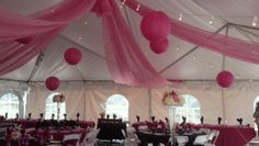 Glen Eagle Country Club Tent Pink Gossamer with bistro lights and pink paper lanterns