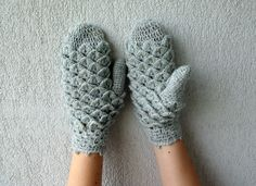 White Women mittens light grey crochet crocodile stitch gloves Ready to ship.. $39,00, via Etsy.