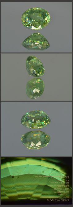 Vivid Green Demantoid Garnet from Russia. Horse Tail Inclusions. Oval Cut. 1.30 ct.  Loose Gemstones MdMaya Gems