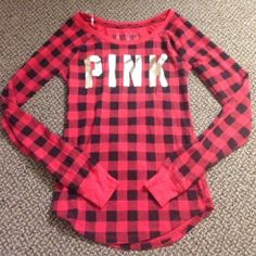 PINK red plaid sleepwear thermal top Super cute long sleeve red plaid sleepwear top from Victoria's Secret PINK. Metallic lettering on front on great condition! Fits like a true XS. Please don't send lowball offers ☺️ PINK Victoria's Secret Tops Tees - Long Sleeve