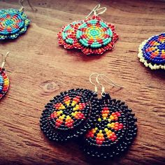 They are definitely special and attention-catching. Pick from a variety of multicolored or monochromatic styles, mix and match according to your clothing, and existing jewelry. Beaded Earrings Native, Beaded Earrings Patterns, Native Beadwork, Seed Bead Patterns, Native American Beadwork, Seed Bead Earrings, Beading Patterns, Embroidery Jewelry, Beaded Embroidery