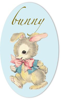 FREE digital and printable Easter bunny clipart graphic / button / embellishment in vintage design