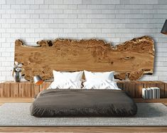 Custom Live Edge Wood Headboards - Beautiful large wood slabs, Hand crafted into Unique, One of a Kind - Rustic Modern Bedroom Decor - Wooden headboard - Rustic Bedroom Design, Romantic Bedroom Decor, Modern Bedroom Decor, Home Bedroom, Bedrooms, Contemporary Bedroom, Master Bedroom, Bedroom Ideas, Budget Bedroom