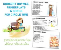 Nursery Rhymes, Fingerplays & Songs Printables | Things to Share & Remember