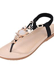 Women's Sandals Summer Comfort PU Casual Flat Heel Crystal Gore Black Blue Beige Others