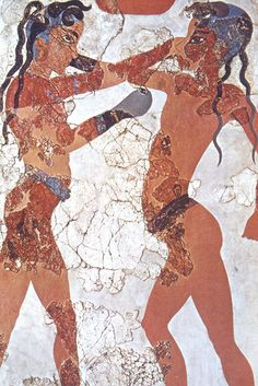 Fresco Akrotiri - Thera, Griekenland - Minoan Boxing Boys, restored fresco from Thera (modern-day Santorini), c.1600 BC. Currently located at the National Archaeological Museum in Athens, Greece.