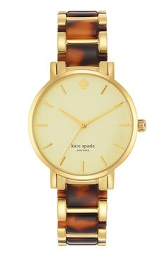 (Loving tortoise shell & gold) Kate spade new york 'gramercy' resin link bracelet watch, available at Tortoise Shell Watch, Jewelry Accessories, Fashion Accessories, Kate Spade, The Bling Ring, Tory Burch, Nordstrom, Diamond Are A Girls Best Friend, Mode Style