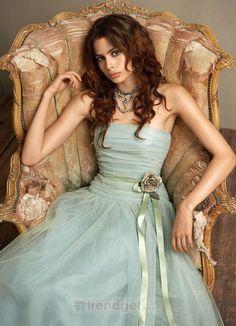Modern A-line Strapless Floor-length Organza Blue Bridesmaid Dresses - $183.99 - Trendget.com