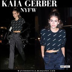 Kaia Gerber in black fur coat, black crop top and black pants
