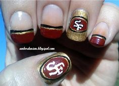 Acrylic Nail Art Football 49ers Karathenaildess Pinterest Nails And