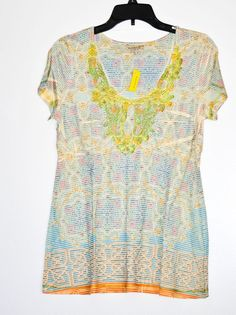 51676f4789d96 One World Women s Top Paisley Studded Multi-Color Short Sleeve Petite size  M NWT