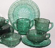 Doric and Pansy Depression Glass in gorgeous Teal, made 1937-1938 by Jeanette Glass Company.