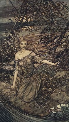 Arthur Rackham -  He saw by the moonlight momentarily unveiled, a little insland encircled by the food; and there under the branches of the overhanging trees was Undine