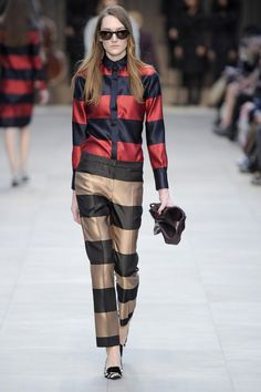Pin for Later: Get in the Trenches With Burberry's British Invasion Burberry Prorsum Fall 2013 Wid stripes were dynamic on the runway.