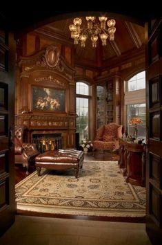 Victorian Interiors, Victorian Homes, Casas Tudor, Home Office Design, House Design, Design Desk, Library Design, Beautiful Interiors, Beautiful Homes