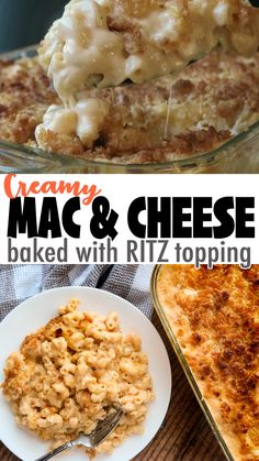 This Creamy Mac and Cheese is made with a blend of four cheeses, and topped with crushed Ritz crackers, then baked for a buttery crispy crust! Baked Mac And Cheese Recipe, Mac And Cheese Casserole, Bake Mac And Cheese, Cheese Recipes, Cooking Recipes, Chorizo Recipes, Smoked Mac And Cheese, Creamy Mac And Cheese, Pasta