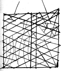 """""""Polynesian navigation device showing directions of winds, waves and islands."""" Stick charts identified islands with shells or by the intersection of sticks. The various """"threads represented prevailing ocean surface wave-crests and directions they took as they approached islands and met other similar wave-crests formed by the ebb and flow of breakers."""" Caption at link"""