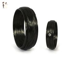 Set of two carbon fiber wedding bands. Modern and unique black rings. Water resistant, very durable and hypoallergenic. (00116_6S8N) - Wedding and engagement rings (*Amazon Partner-Link)