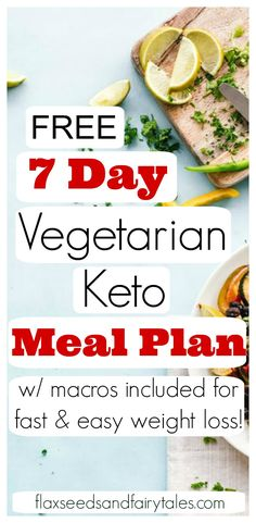 7 Day Vegetarian Keto Meal Plan! This simple weight loss plan has 28 easy low carb vegetarian recipes for a whole week. Great for beginners or anyone on a budget. All recipes are gluten free. #vegetarianketo #ketomealplan