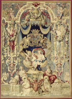Jean Bérain, Panel with Venus and love, four windows with love on a throne. Les Gobelins, Louvre Paris, Medieval Tapestry, Tapestry Design, Louis Xiv, Sacred Art, Persian Carpet, Wall Art Designs, Medium Art