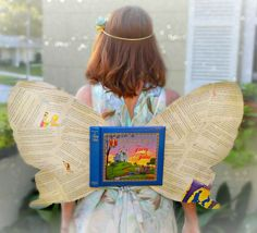 Full instructions for how to make a Book Fairy Costume and Book Fairy wings. It's the perfect Halloween costume for teachers, librarians, and book lovers! Literary Costumes, Pun Costumes, Teacher Halloween Costumes, Book Costumes, World Book Day Costumes, Halloween Books, Costume Ideas, Kids Book Character Costumes, Children's Book Characters