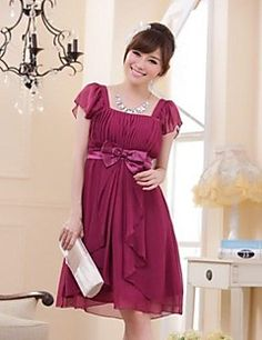 Knee-length Chiffon Bridesmaid Dress - Burgundy / Black / Beige A-line / Princess Square