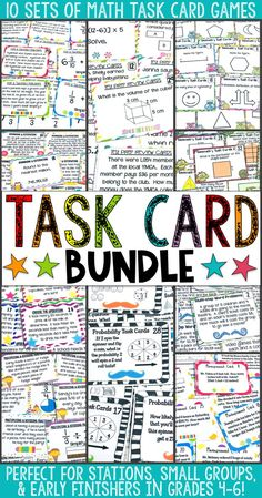 This bundle includes 10 sets of math task cards for grades 4-6! Geometry, fractions, probability, test prep, measurement, rounding, and MORE!