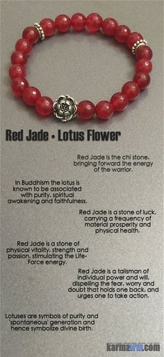 Red Jade is a stone of luck, carrying a frequency of material prosperity and physical health. #love #charm #healing #zen #men's #bracelets #women's #lucky #buddhist #buddha #aura #fitness #luck #luxury #power #energy #crystal #motivate #red #jade #lotus #flower