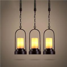 (EU Lager)Glas Pendelleuchte Vintage Metall Hanfseil Design 1-Flammig Schwarz