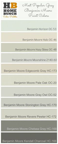 Most Popular Gray Benjamin Moore Paint Colors. Benjamin Moore is located at the Resource Center (Michigan Design Center) Benjamin Moore Pale Oak, Benjamin Moore Paint, Benjamin Moore Moonshine, Benjamin Moore Horizon, Kendall Charcoal Benjamin Moore, Benjamin Moore Chelsea Gray, Benjamin Moore Kitchen, Benjamin Moore Colors, Interior Paint Colors