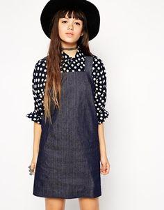 ASOS+Reclaimed+Vintage+A-Line+Denim+Pinafore+Dress