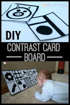 Baby play made simple with a contrast cards board. Make it in a matter of minutes. Perfect for tummy time or side lying play! Contrast Cards Board For Baby Reggio Emilia, Baby Play, Baby Toys, Newborn Toys, Bebe Love, Kids Fever, Baby Care Tips, Before Baby, Baby Sensory