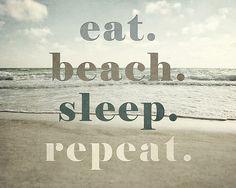 Eat Beach Sleep Repeat Beach Decor Beach by LisaRussoFineArt, $30.00