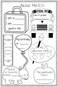 Printables Free Printable Back To School Worksheets all about me worksheet this would be cute for a time cap or 1st week of school and have partner share yours with class vice