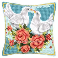 Buy Doves in Love Cushion Front Chunky Cross Stitch Kit online at sewandso.co.uk