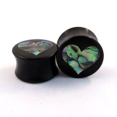 """Abalone Heart Inlay in Ebony Wooden Plugs - 2g (6.5mm) 0g (8mm) 00g (9mm) (10 mm) 7/16"""" (11mm) 1/2"""" (13mm) 9/16"""" (14mm) Wood Ear Gauges"""