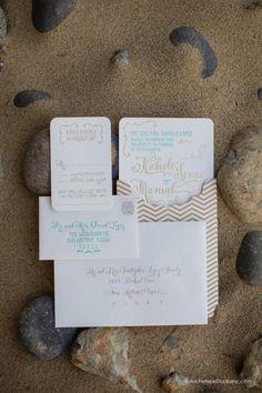 Beach Wedding Invitation beautiful sandy colors
